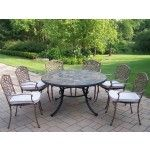 Oakland Living - Stone Art 7 Piece Dining Set with Cushions - 90094-2120-13-AB  SPECIAL PRICE: $2,822.10
