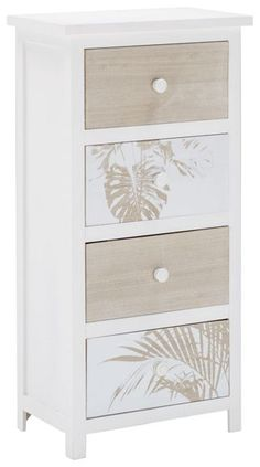 Kommode in Weiß und Kieferfarbe - ein Blickfang mit Charme Nightstand, Dresser, Table, Furniture, Home Decor, Glamour, Natural Colors, Powder Room, Decoration Home