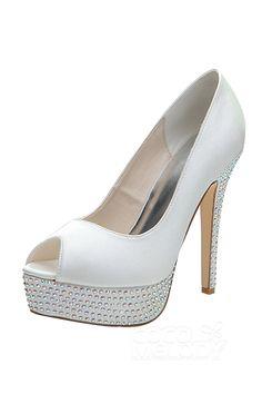 These in blue! Women's Satin Stiletto Heel Peep Toe Platform Pumps Sandals With Rhinestone Zapatos Peep Toe, Peep Toe Shoes, Shoes Heels, Stilettos, Stiletto Heels, Champagne Shoes, Bridal Wedding Shoes, Peep Toe Platform, Prom Shoes