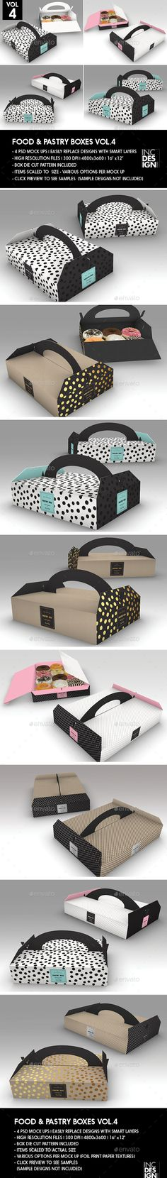 Food Pastry Boxes Vol.4: Donut | Pastry Carrier Take Out Packaging Mock Ups - Food and Drink Packaging