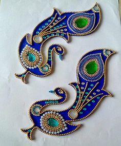 Beautiful Kundan Rangoli Floor Art Peacock Design Wedding