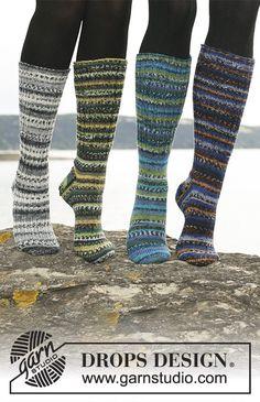 "Long DROPS socks in ""Fabel"" with foot in rib or stockinette st. Drops Design, Knitting Patterns Free, Free Knitting, Guêtres Au Crochet, Cute Socks, Stockinette, Knitting Socks, Mittens, Slippers"