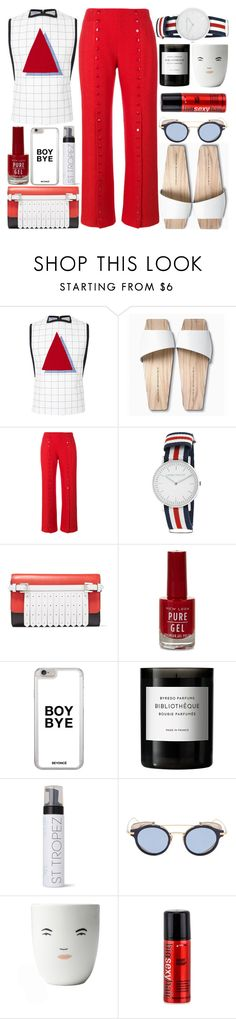 """Red and white"" by barbarela11 ❤ liked on Polyvore featuring Davidelfin, Mizutori, Rosie Assoulin, Laura Ashley, Michael Kors, New Look, Byredo, St. Tropez, Thom Browne and Sexy Hair"