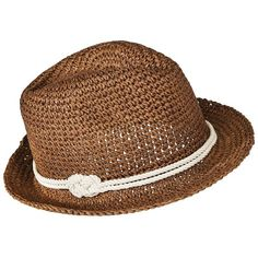 Mossimo Supply Co. Brown Crochet Fedora Hat ($13) ❤ liked on Polyvore