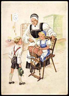 Postcard Erzgebirge Trachten, Klöppeln
