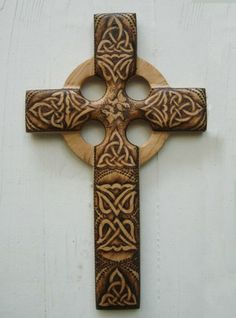 crosses made out of wood | Peace and Harmony Wood Burned Celtic Christian Cross -Celtic Doves ...