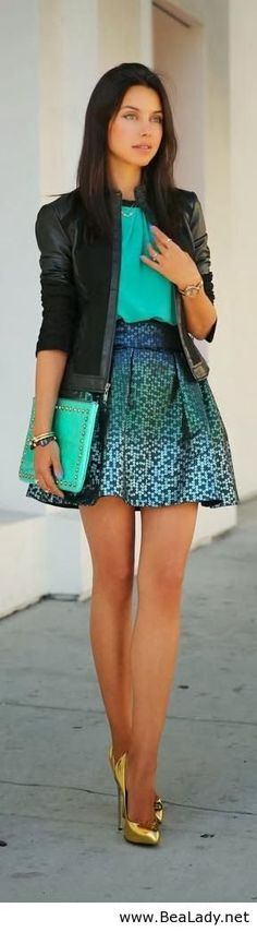 Skirt leather jacket blouse and purse