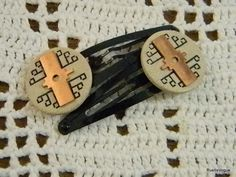Vintage Button and Copper Die Cut Piece Hair Clips by RustIsVogue, $10.00