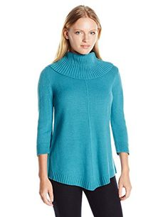 Napa Valley Womens 34 Sleeves Cowl Neck Pointed Hem Pullover Sweater Lagoon PetiteSmall * For more information, visit image link.