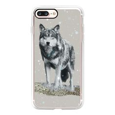 WINTER WOLF by Monika Strigel - iPhone 7 Case, iPhone 7 Plus Case,... ($40) ❤ liked on Polyvore featuring accessories, tech accessories, iphone case, apple iphone case, iphone cover case, slim iphone case and iphone cases