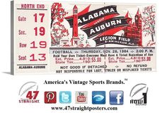 1964 #Alabama #Auburn college football ticket - art on canvas. The #CrimsonTide beat the Tigers and won the '64 national title. #SEC Champions 47 straight. Made from a rare untorn ticket.