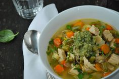 Roasted Chicken Vegetable Soup with LEMON and PESTO