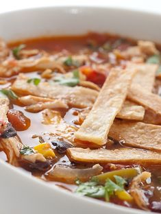 Chicken Tortilla Soup Recipe this is really good with sliced cooked tortillas