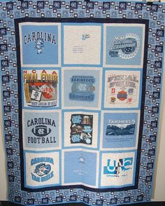 UNC TarHeel T-Shirt Quilt created from your t-shirts. Quilted in a basketball stitching pattern. Preserve your t-shirts and your memories.