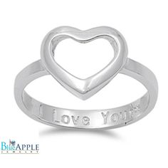 Heart Ring Solid 925 Sterling Silver Petite Dainty Simple Classic Open Heart Ring I Love You Engraved Inside The Band Promise Ring Gift
