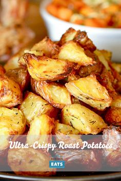 These potatoes are parboiled, then tossed roughly in a bowl with a metal spoon until their surfaces are roughed and scratched up. All those microscopic nooks and crannies make for an extra-crunchy exterior. Side Dish Recipes, Side Dishes, Crispy Roast Potatoes, Roasted Potato Recipes, Fodmap Recipes, Serious Eats, Vegetable Sides, Breakfast Recipes, Veggies