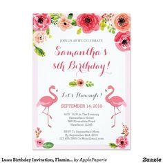 Luau Birthday Invitation, Flamingo Birthday Invite