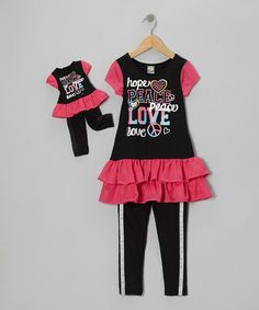 Black 'Love' Tunic Set & Doll Outfit - Girls #zulily #zulilyfinds
