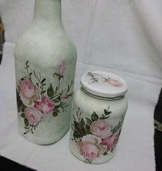 garrafa . decoupagem. vidros - decoração sem marca