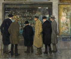 Window Shopping by Francis Luis Mora (hispanic American and overcoats.the display of alcohol is obviously much more of interest that the shop window next door with its display of stockings & lingerie! Impressionist Paintings, Old Paintings, Landscape Paintings, A4 Poster, Poster Prints, American Idioms, Chrysler Museum, Phoenix Art Museum, Hispanic American