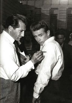 """James Dean behind the scenes of """"Rebel Without A Cause"""", (1955)."""