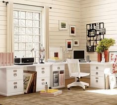 The desks will probably be some arrangement like this -- two corner units with a straight desk in between.