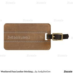 Weathered Faux Leather Stitching Natural Brown Bag Tags