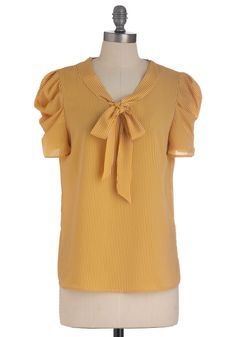 Red Letter, Yellow Letter Top - Mid-length, Yellow, White, Stripes, Buttons, Short Sleeves, Tie Blouse, Work