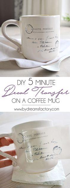 DIY 5 minute decal transfer on a coffee mug