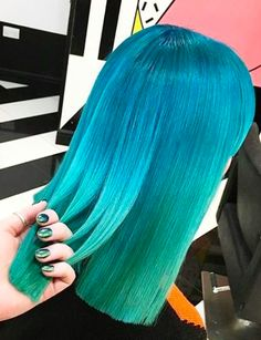Blue to green haircolor by Not Another Salon @notanothersalon