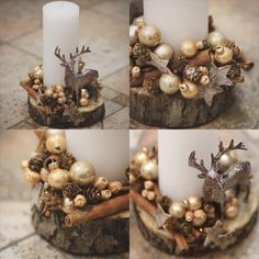 new collection of easy christmas decorations 166 Christmas Candle Decorations, Christmas Arrangements, Christmas Candles, Christmas Mood, Simple Christmas, Christmas Wreaths, Christmas Ornaments, Xmas Crafts, Christmas Inspiration