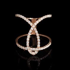 This stylish 18k rose gold ring, features 54 round brilliant cut white diamonds of F color, VS2 clarity, with excellent cut and brilliance, weighing .52 carat total.