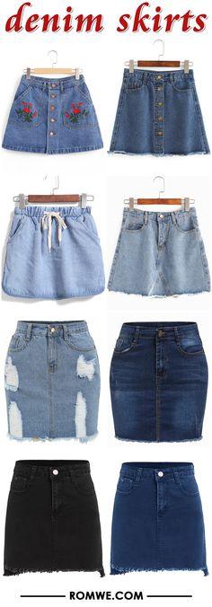 summer denim skirts romwe.com
