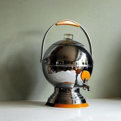 Art Deco Vintage Coffee Urn in Chrome and Bakelite by Manning Bowman-1930's........