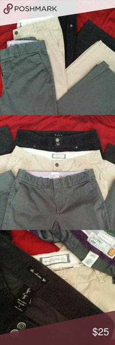 Size 8 Bundle #4 Khaki Abercrombie and Fitch - 8 Dark Brow Courd. London Jean the Christie Fit - 8 Grey Old Navy - 8R  All in Very good condition Selling together as a bundle only! Will NOT separate! Abercrombie & Fitch Pants