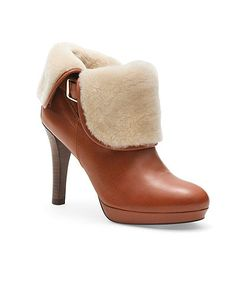 Calfskin and Shearling Ankle Boots   Brooks Brothers