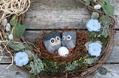 'Waiting for Baby' Woodland Owl Wreath
