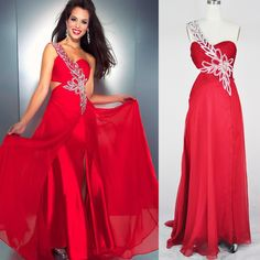 Red One Shoulder Sweetheart Beading Crystal Prom Dress 9s