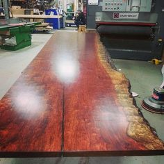 """Figured Bubinga 1 piece top, 2"""" x 43"""" x 13', just finished in our shop. Rubio Monocoat pure 2C. Come and see us, 100's of slabs in stock. Limited bubinga but many other species. We also sell the Rubio Finish we use on every top we finish. Water and alcohol resistant. Awesome """"green"""" finish that works #bubinga #liveedge #Burlington #Oakvillle #Hamilton #toronto #rubiomonocoat #designer #table #furniture"""