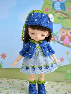 Pre-order Pukifee blueberry outfit by IFairyGarden on Etsy Baby Girl Dress Patterns, Baby Clothes Patterns, Crochet Doll Clothes, Knitted Dolls, Pink Tights, Sweaters And Leggings, Handmade Dresses, Cute Dolls, Barbie Clothes