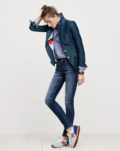 J.Crew women's Rhodes blazer, boy shirt in bold stripe, toothpick Cone Denim® selvedge jean in McHenry wash, Timex® for J.Crew Andros watch and New Balance® for J.Crew 620 sneakers.