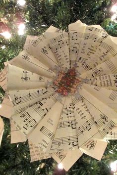 """Paper Cone Wreath Ornament for """"A Christmas Carol"""" book themed tree"""