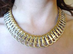 Gold Lame Pull Tab Necklace