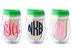 Personalized Bev2go stemless wine glass {Green lid}