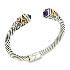 Amethyst and Citrine Bangle Set in Sterling Silver & 18K Gold Accents | Cirque Jewels
