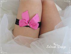 Bridal Black and Hotpink Garter, Fuchsia Garter, Lace Garter, Toss Garter, Wedding Bow Garter, Rhinestone Garter