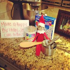 """Momfessionals: Elf on the Shelf Is gathering ingredients to make a """"Happy Birthday"""" Jesus cake.."""