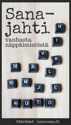 DIY Sanajahti vanhasta näppäimistöstä Recycled Crafts, Diy Crafts, Working With Children, Trivia, Alphabet, Kindergarten, Preschool, Arts And Crafts, Writing