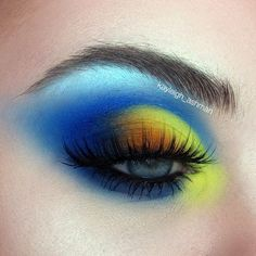 Blue and yellow half cut crease by kayleigh_ashman #Cutcrease #EyeMakeupCutCrease Yellow Makeup, Yellow Eyeshadow, Eyeshadow Looks, Colorful Makeup, Eyeshadow Makeup, Lip Makeup, Sparkly Eyeshadow, Eyeshadow Palette, Red Eyeliner