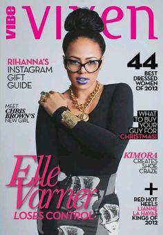 Top Knot, Cat Eye Glasses, Ring, Cuff, Chain Link Neckware   Elle Varner for Vibe Vixen Jan 2013